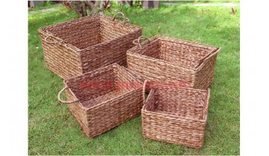 Set of 6 Rectangular Water hyacinth Baskets