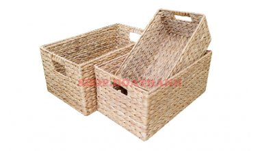 Set of 3 Rectangular hyacinth basketsSet of 3 Rectangular Water hyacinth Baskets