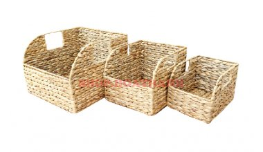 Set of 3 Rectangular Water hyacinth Baskets