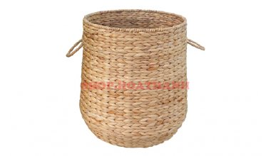 Laundry Basket Water Hyacinth Wicker Basket with Handles